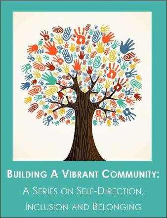 Stock graphic of tree with handprints for leaves and Building A Vibrant Community series name