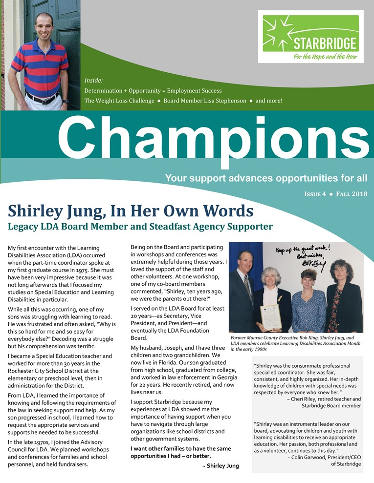 Small version of front page of Champions newsletter