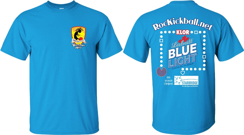 Front and back sides of KLOR summer league tee shirts