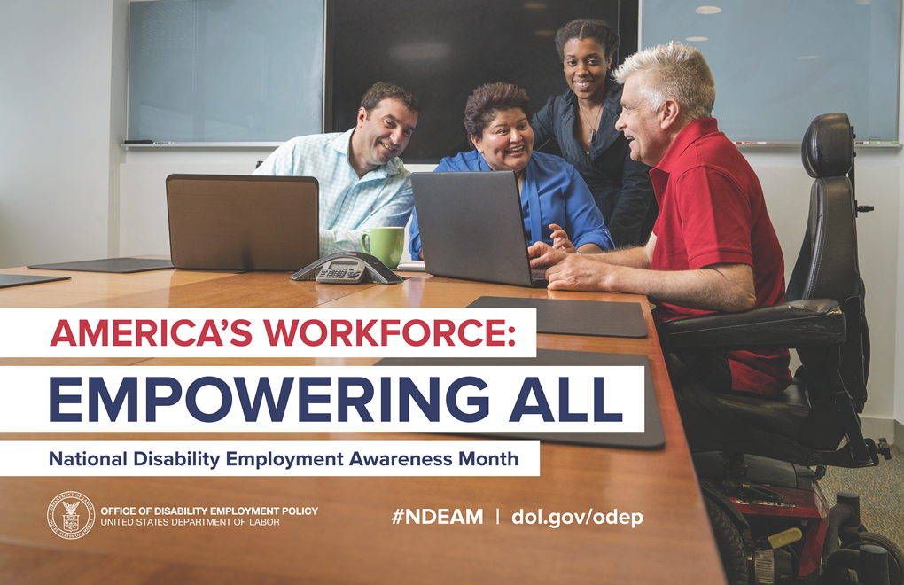 Poster for National Disability Employment Awareness Month, showing diverse group of people seated and table and talking with each other