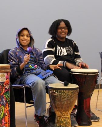 TIES participants in drum circle
