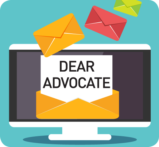 Graphic showing computer screen with open envelope and beginning part of a letter reading Dear Advocate