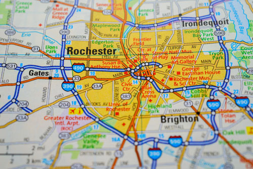 stock photo showing map of rochester area