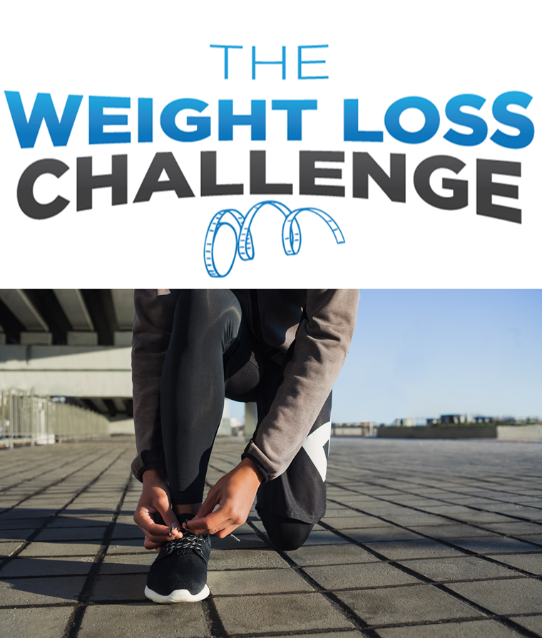 Image showing words weight loss challenge above photo of person tying exercise shoes